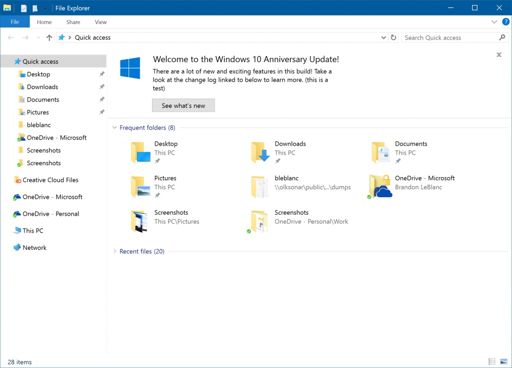 Windows Explorer Windows 10 Build 14901