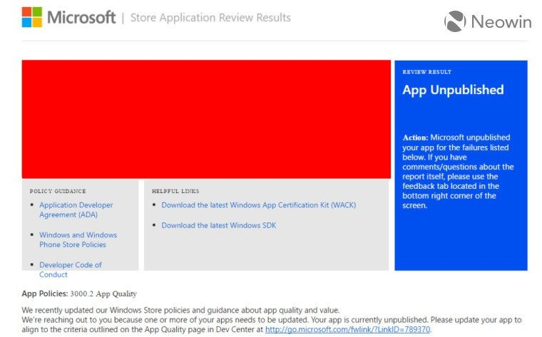 App Unpublished Windows Store
