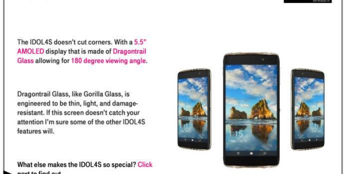 Durchgesickerte T-Mobile USA Dokumente zeigen das Alcatel Idol 4S mit Windows 10 Mobile