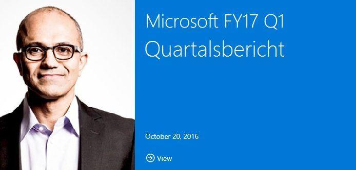 Microsofts erstes Quartal im FY17: Office, Cloud weiterhin erfolgreich, Xbox weniger, Smartphones im freien Fall