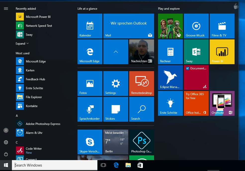 Windows 10 Startmenü Ordner