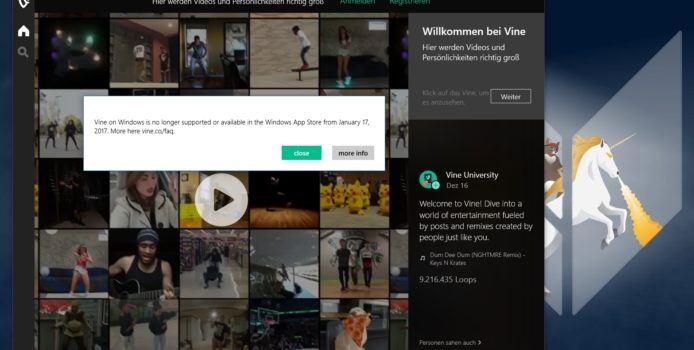 Vine-App wird am 17. Januar aus dem Windows Store entfernt