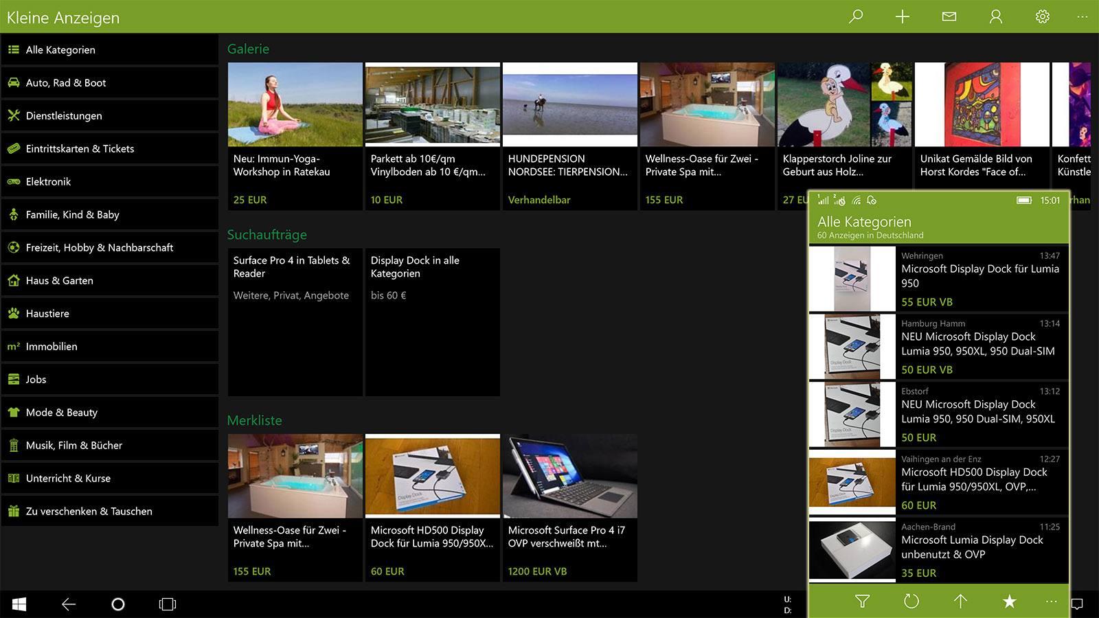 kleine anzeigen inoffizielle ebay kleinanzeigen app f r. Black Bedroom Furniture Sets. Home Design Ideas