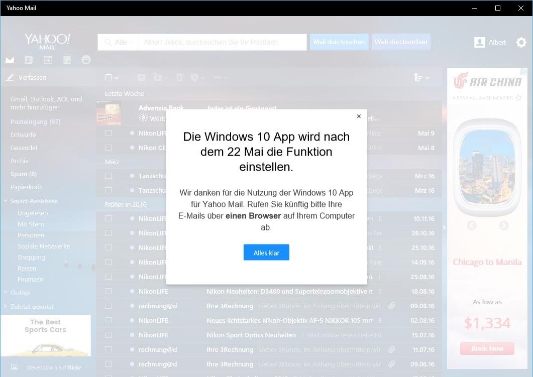 Yahoo Mail für Windows 10 wird eingestellt | WindowsArea.de