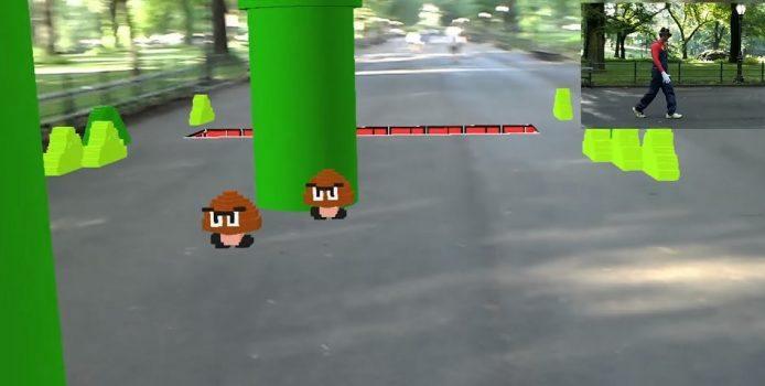 Entwickler spielt Super Mario auf der HoloLens in AR und Lebensgröße
