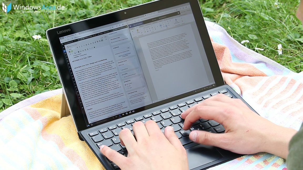 Lenovo Miix 510 Test - Tastatur Word