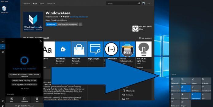 Windows 10: Cortana soll von der Suche ins Info Center wandern