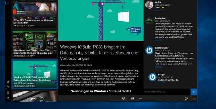 WindowsArea UWP 1.5.18 löst das Kommentar-Problem