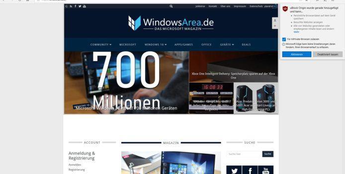 Windows 10 1803: Microsoft Edge-Erweiterungen im InPrivate-Modus nutzbar