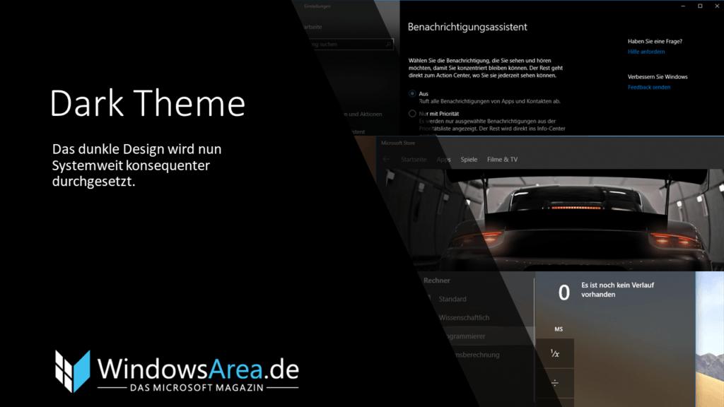 Windows 10 Oktober Update Dark Theme. Das dunkle Design wird nun Systemweit konsequenter durchgesetzt.