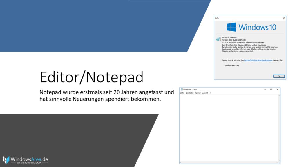 Windows 10 Oktober Update Notepad. Notepad wurde erstmals seit 20 Jahren angefasst und hat sinnvolle Neuerungen spendiert bekommen.