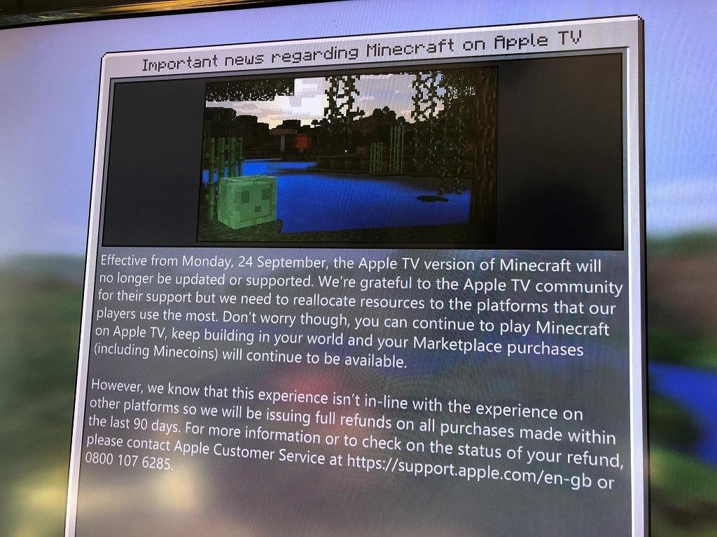 Minecraft für Apple TV wird eingestellt