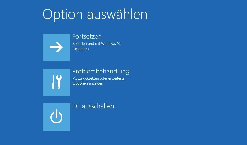 """Screenshot des Windows PE-Menüs, auch """"erweiterter Start"""" genannt."""
