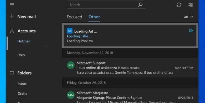 Microsoft experimentierte mit Werbung in der Windows 10 Mail-App
