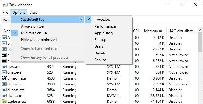 Windows 10 19H1: Standard-Taskmanager Tab lässt sich ändern