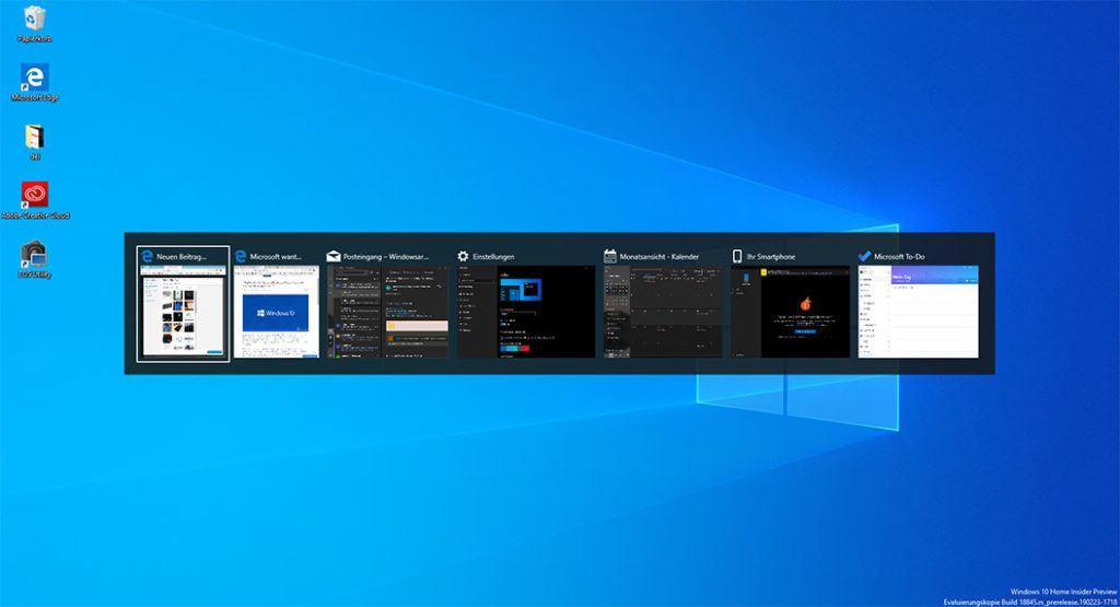 Dieser Screenshot zeigt das Alt + Tab Menü von Windows 10