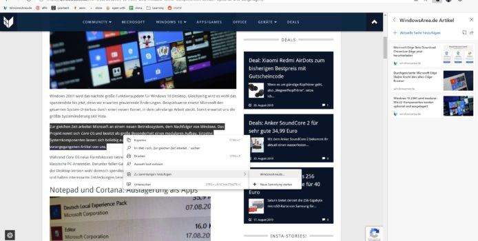 Microsoft Edge bekommt endlich Collections-Feature