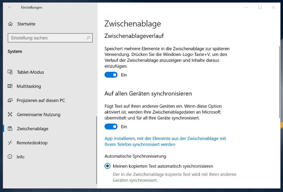 Neue Windows 10 Zwischenablage
