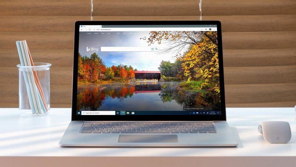 Screenshot zeigt ein Notebook mit geöffneter Bing-Seite.