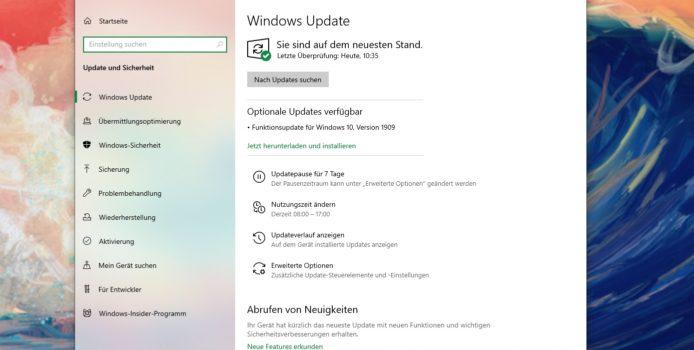 Windows 10 Version 1909: Support endet nächste Woche