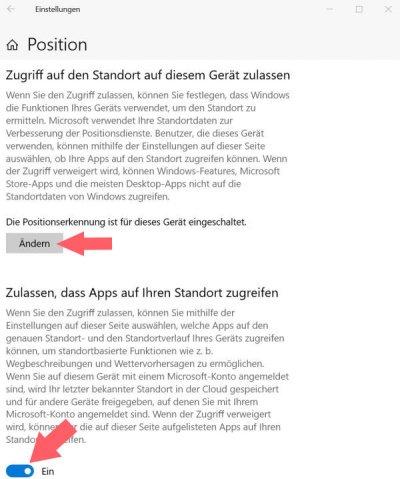 Windows 10 Positionsdienste