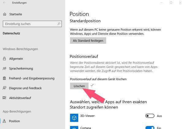 Windows 10 Positionsverlauf löschen