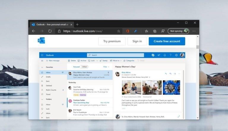 Titelbild: Werbung für die Outlook Webseite geöffnet im Webbrowser