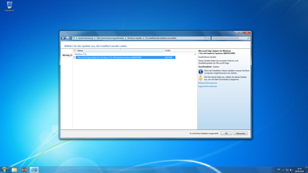 Screenshot von der Windows 7 Benutzeroberfläche mit geöffneter Systemsteuerung im Bereich Windows Updates