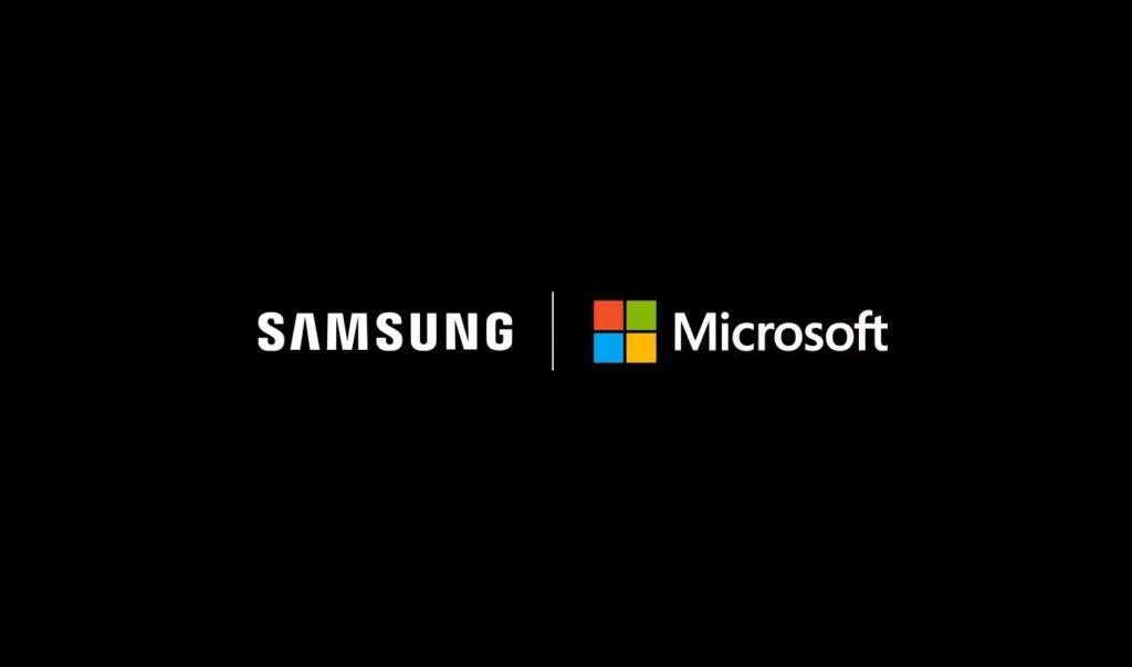 Samsung und Microsoft Partnerschaft: beide Logos nebeneinander