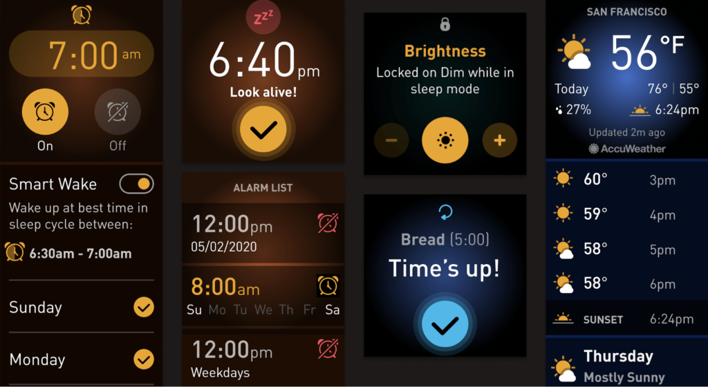 Screenshots aus Fitbit OS 5