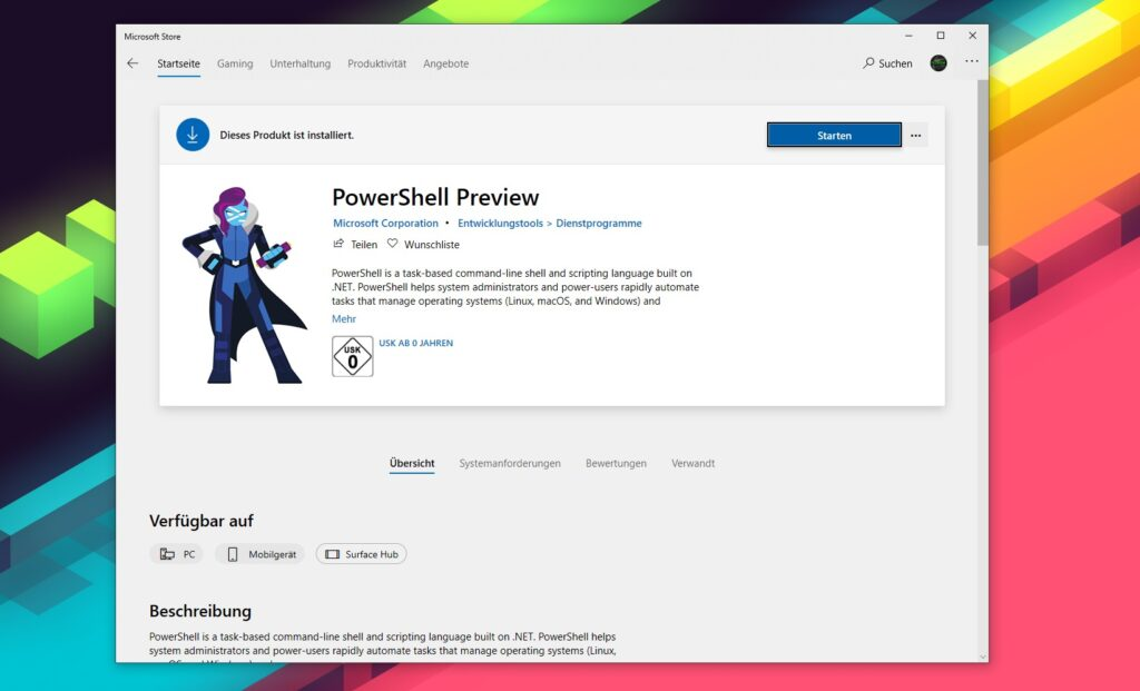 PowerShell Preview Microsoft Store Eintrag