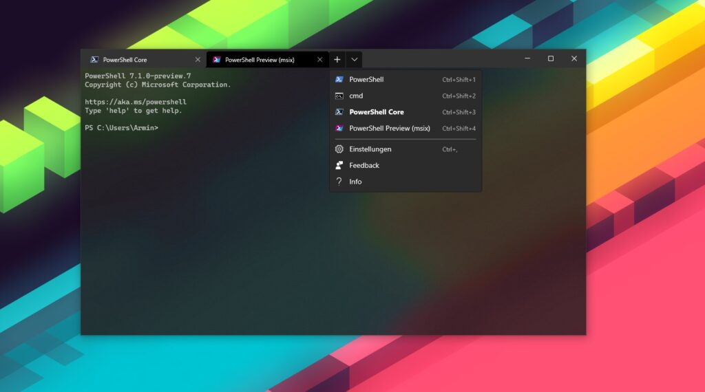 Windows Terminal mit geöffneten PowerShell Core Preview Profil aus dem Microsoft Store