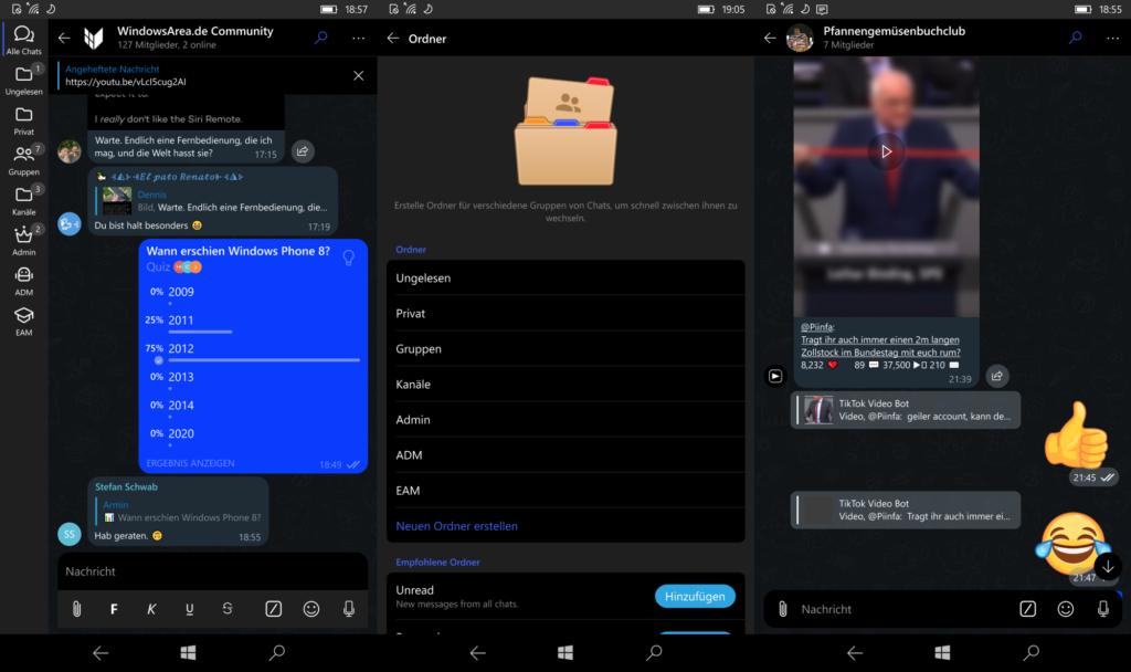 Screenshots der Unigram Mobile App, welcher eine Quiz-Umfrage, Chat-Ordner Einstellungen und die neuen animierten Sticker zeigt