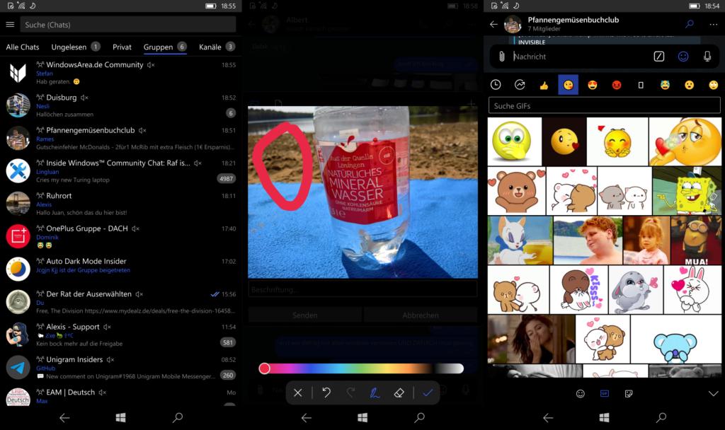 Drei Screenshots von Unigram Mobile. Das erste stellt die Chat-Liste dar. Der zweite zeigt das Markieren von Objekten auf Bilder, während Screenshot Drei die Gif-Suche darstellt.