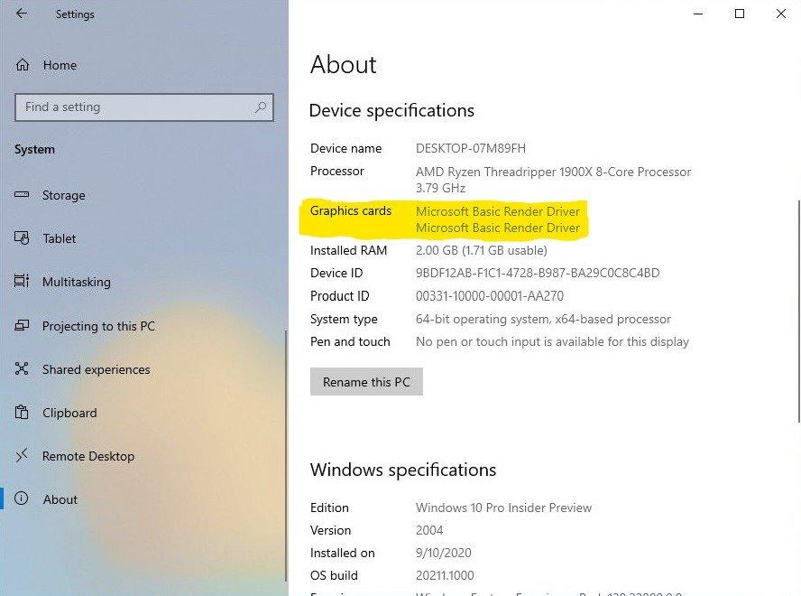 Windows 10 Grafikkarte in Systeminfo