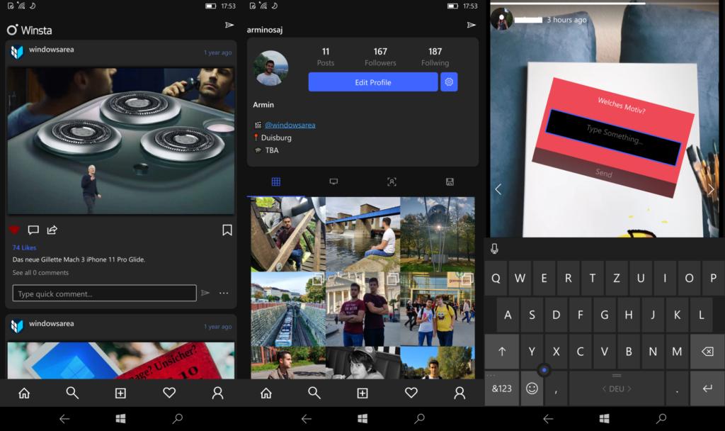 Drei Screenshots der Winsta App