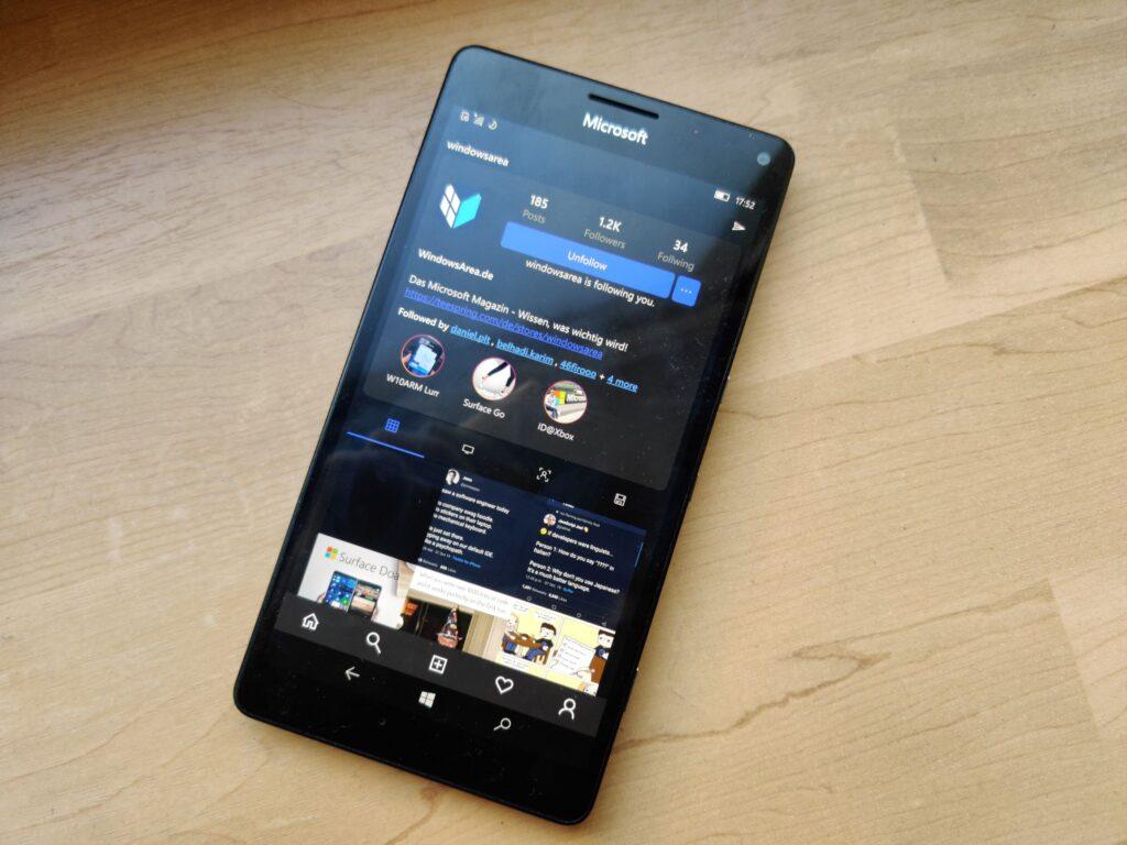 Winsta App geöffnet auf einem Lumia 950 XL mit der WindowsArea Seite
