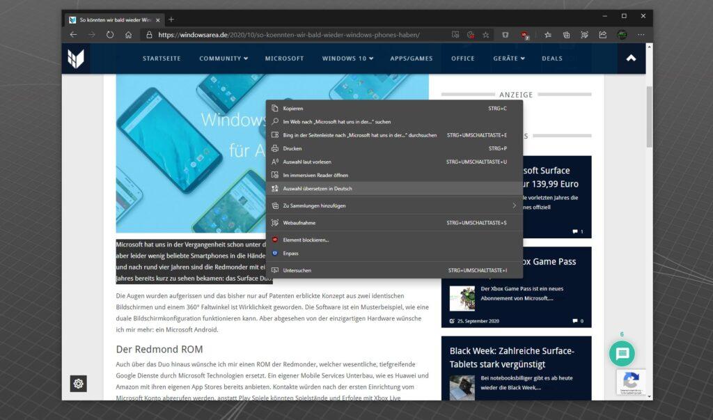 Microsoft Edge selektiver Übersetzer