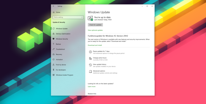 Windows 10 20H2 wird nun per Machine Learning zwangsverfüttert