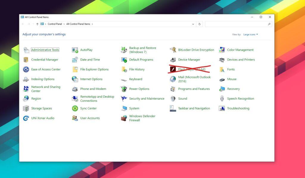 Adobe Flash Player Eintrag in der Systemsteuerung