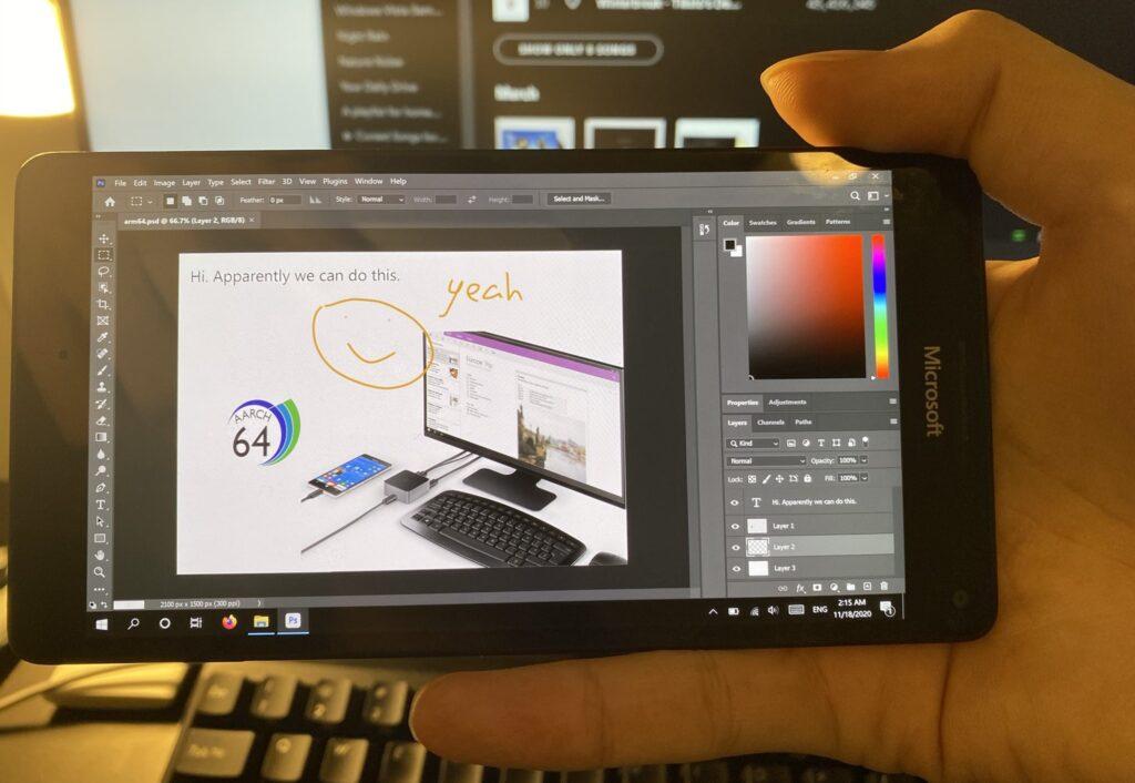 Adobe Photoshop unter Windows 10 ARM auf dem Microsoft Lumia 950 (XL)