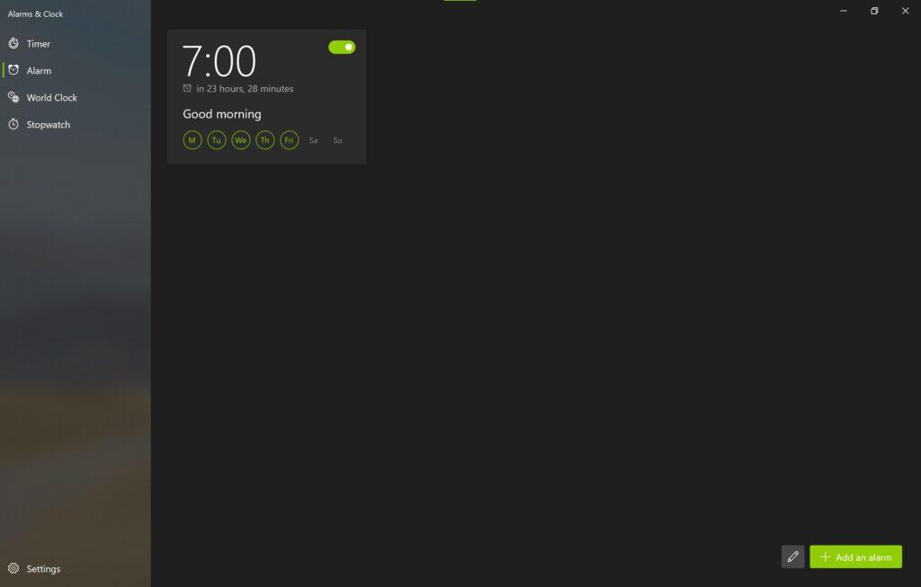 Screenshot der Alarm & Uhr App im Sun Valley Design im Reiter Wecker
