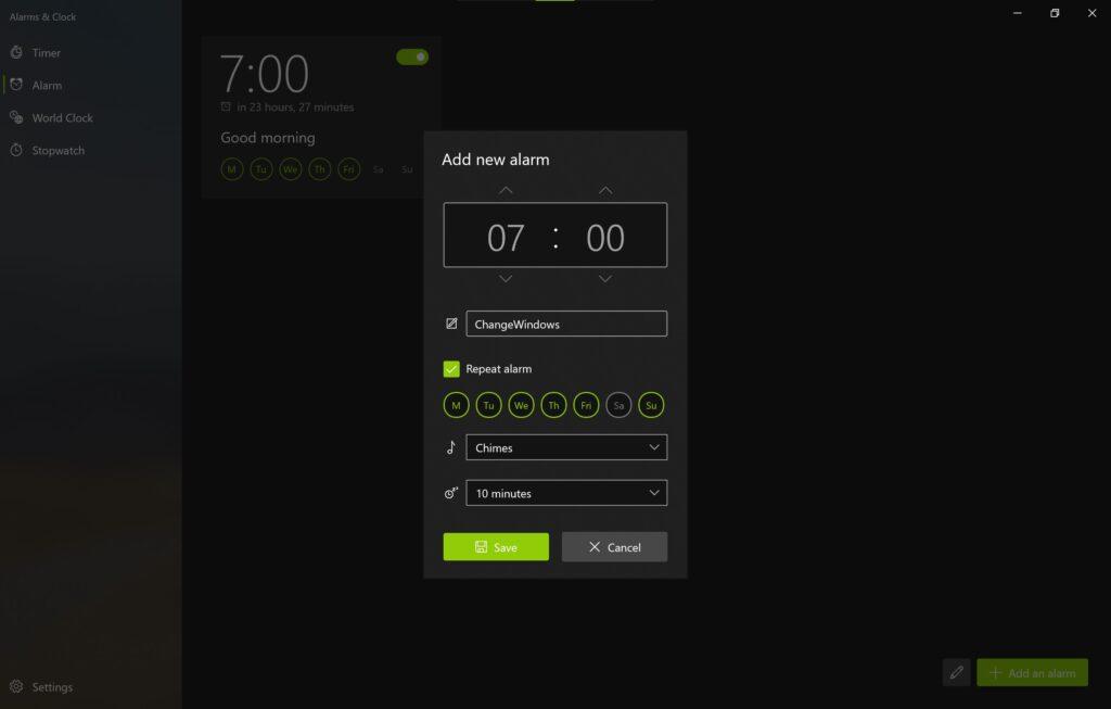 Screenshot der Alarm & Uhr App im Sun Valley Design, zeigt die Erstellung eines neuen Weckers