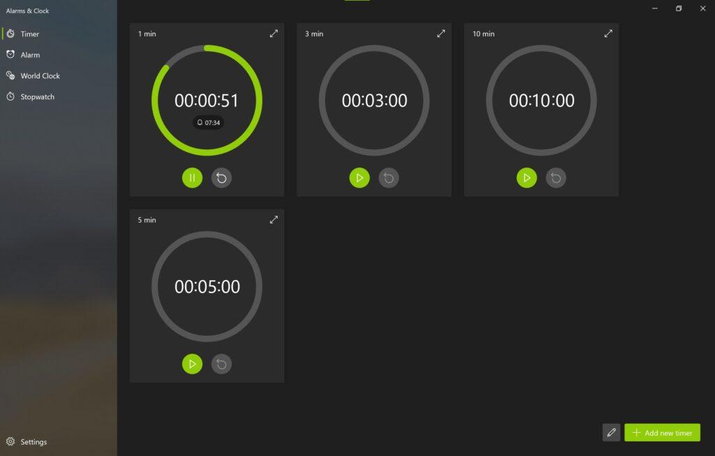 Screenshot der Alarm & Uhr App im Sun Valley Design im Reiter Zeitgeber / Timer