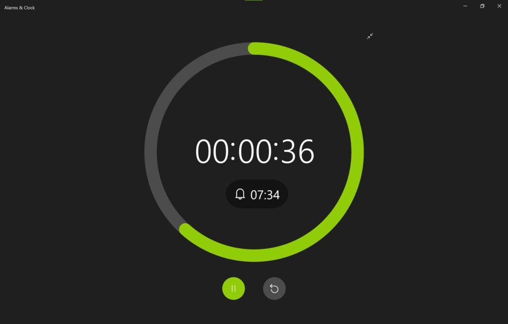 Screenshot der Alarm & Uhr App im Sun Valley Design, zeigt einen Timer im Vollbildmodus