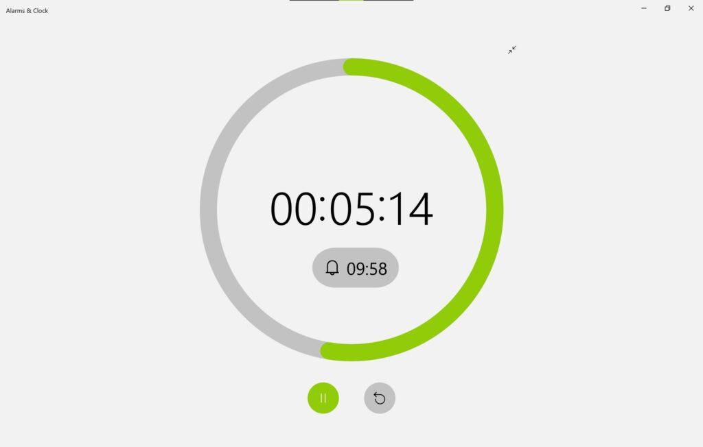 Screenshot der Alarm & Uhr App im HELLEN Sun Valley Design, zeigt Zeitgeber / Timer im Vollbildmodus