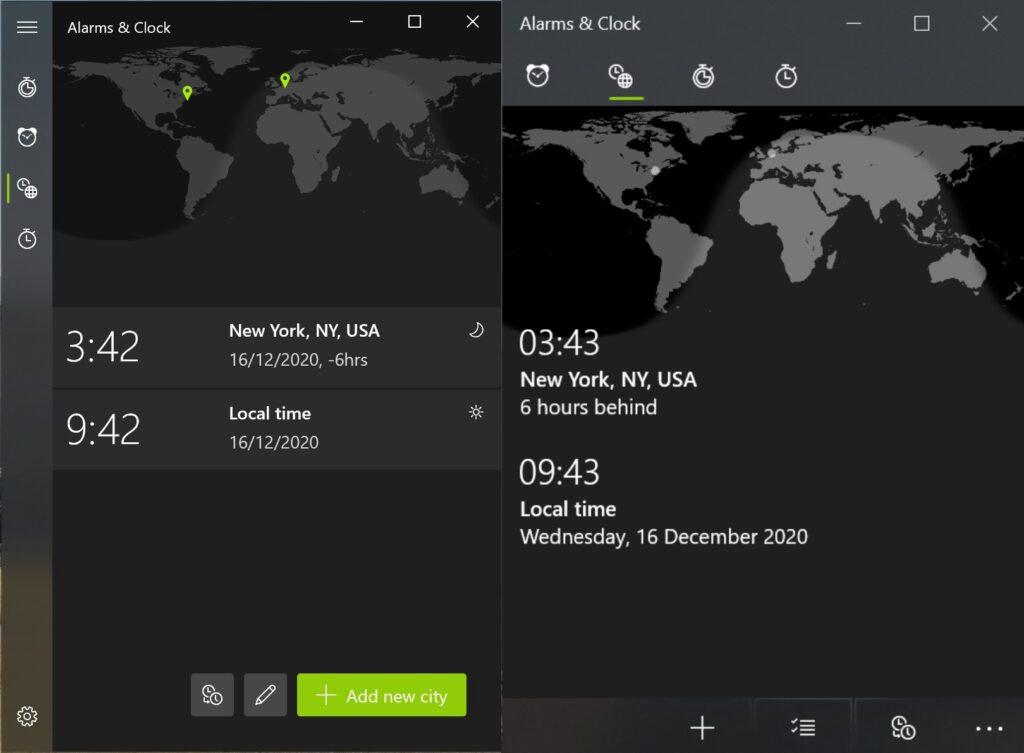 Screenshot der Alarm & Uhr App, das alte und das neue Design im Direktvergleich