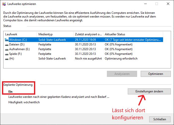 Benutzeroberfläche von Laufwerke optimieren unter Windows 10