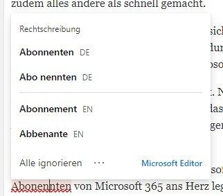 Screenshot, welches die Wortvorschläge von Microsoft Editor zeigt.