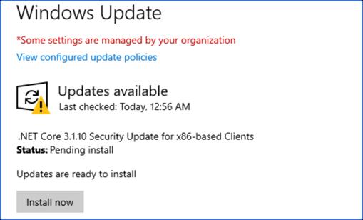 .Net Core 3.1 Sicherheitsupdate über Windows Update